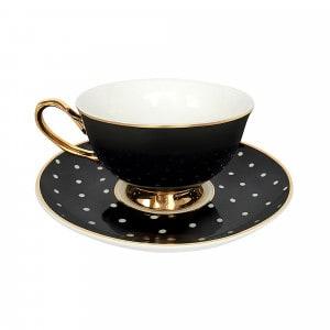 Bombay Duck Teetasse schwarz/weiss gepunktet