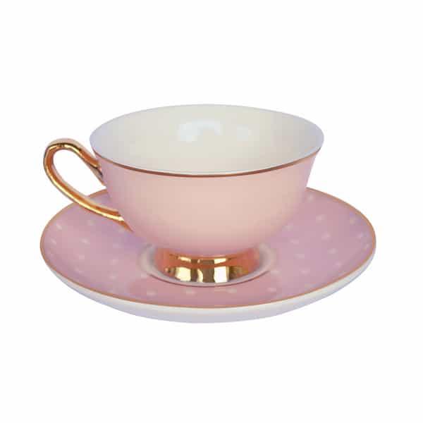 Bombay Duck Tasse rosa weiss gepunktet