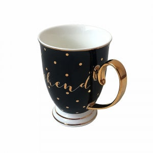 Bombay Duck Tasse schwarz/gold gepunktet Weekend