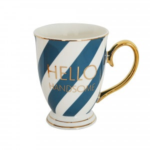 Bombay Duck Tasse blau/weiss gestreift Hello Handsome