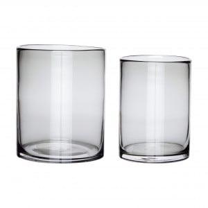 Hübsch Vase, grau, 2er Set
