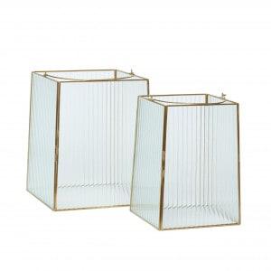 Hübsch Laterne, Glas / Metall, 2er Set